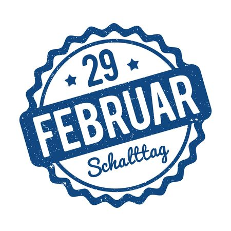 29 February Leap Day rubber stamp in German 2020 Classic Blue on a white background