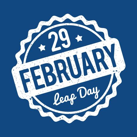 29 February Leap Day rubber stamp in English white on a 2020 Classic Blue background