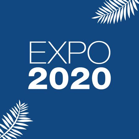 Expo 2020 vector illustration white on a color of the year 2020 Classic Blue background