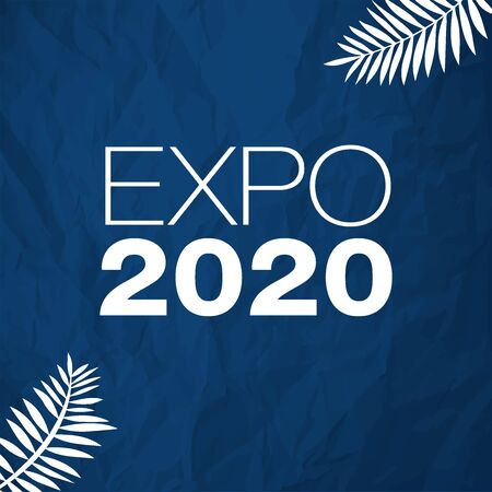 Expo 2020 vector illustration white on a color of the year 2020 Classic Blue crumpled paper background