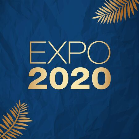 Expo 2020 vector illustration gold on a color of the year 2020 Classic Blue crumpled paper background