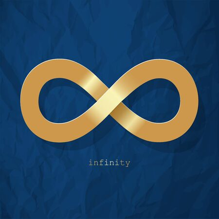 Infinity symbol gold on a color of the year 2020 Classic Blue crumpled paper background 일러스트