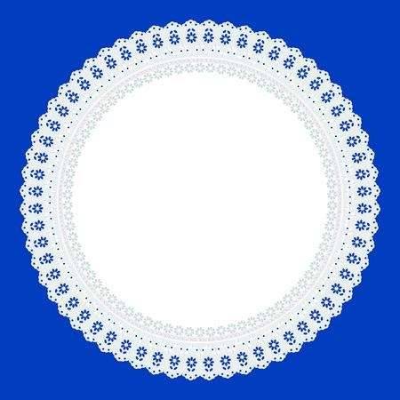 Openwork embroidery white on a color of the year 2020 Classic Blue background