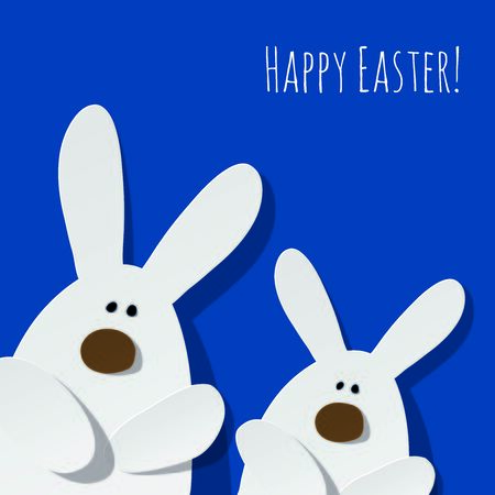 Happy Easter Postcard two Bunnies on a color of the year 2020 Classic Blue background 일러스트