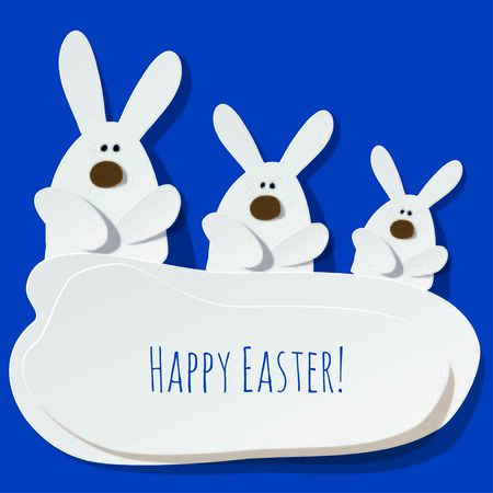 Happy Easter Postcard three Bunnies on a color of the year 2020 Classic Blue background