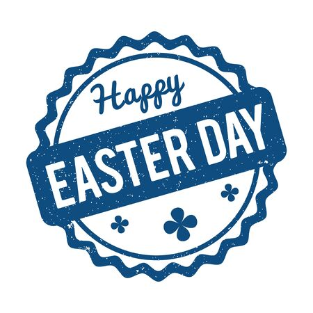 Happy Easter rubber stamp color of the year 2020 Classic Blue on a white background