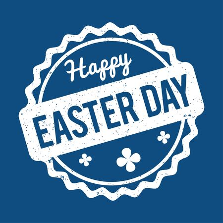 Happy Easter rubber stamp white on a color of the year 2020 Classic Blue background