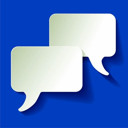 Chat speech bubbles vector white on a color of the year 2020 Classic Blue background 스톡 콘텐츠 - 140857374