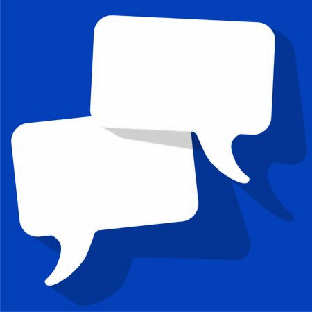 Chat speech bubbles vector white on a color of the year 2020 Classic Blue background