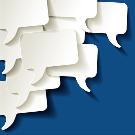 Chat speech bubbles vector ellipse white on a color of the year 2020 Classic Blue background