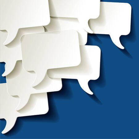 Chat discours bulles vecteur ellipse blanc sur une couleur de l'année 2020 fond bleu classique