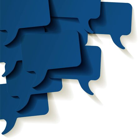Chat speech bubbles vector color of the year 2020 Classic Blue on a white background in the corner