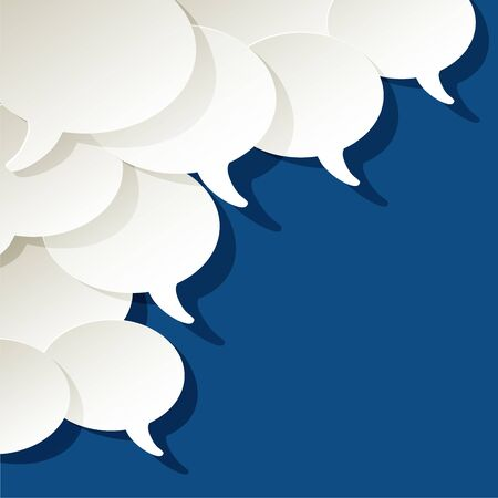 Chat speech bubbles vector ellipse white on a color of the year 2020 Classic Blue background in the corner
