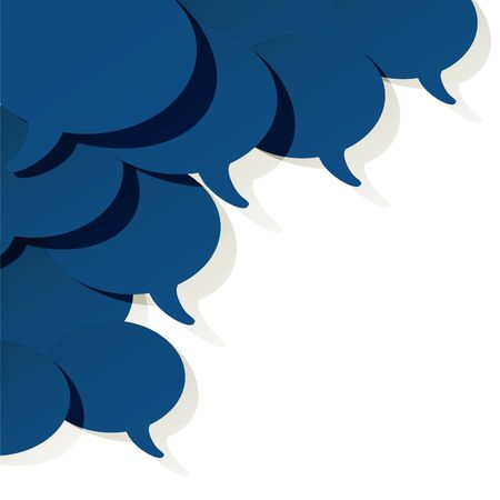 Chat speech bubbles vector ellipse color of the year 2020 Classic Blue on a white background in the corner