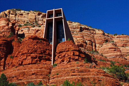 church buildings: Outside view of the Chapel of the Holy Cross in Sedona, Arizona  Designed by a student of Frank Lloyd Wright  Stock Photo