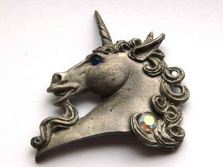 jeweled: Pewter Unicorn with Jeweled Accents Stock Photo