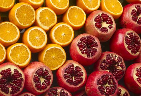 pomegranat: Fresh oranges and pomegranat can be used like background
