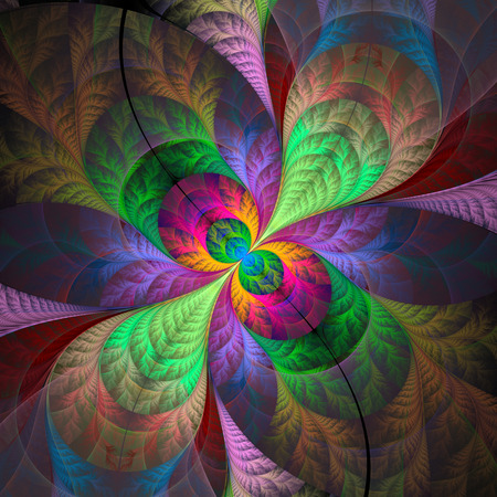 Multicolored fabulous fractal pattern computer generated image Stock Photo