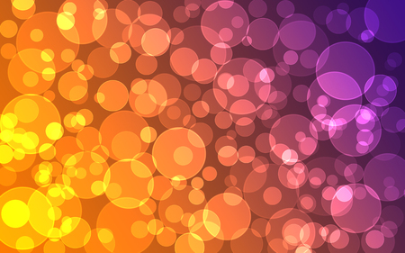 de focused: abstract purple and orange Bokeh circles for Christmas background, glitter light Defocused and Blurred Bokeh