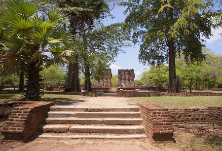Royal Palace, Polonnaruwa or Pulattipura ancient city of the Kingdom of Polonnaruwa in Sri Lanka with green trees and palms