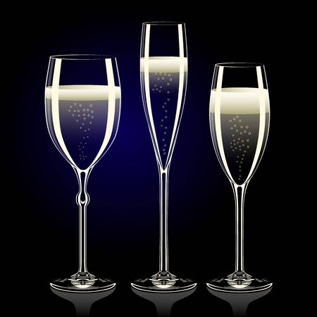 glases: Set of transparent champagne glasses with sparkles on black background Stock Photo