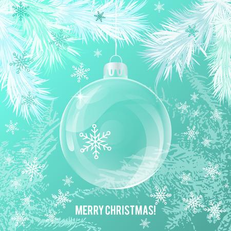 christmas backdrop: Transparent glass Christmas ball on white tree backdrop