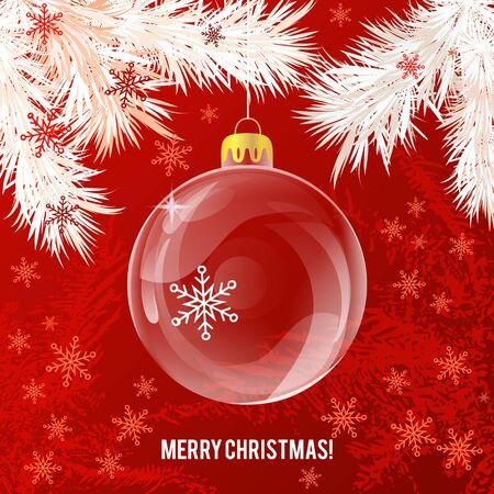 christmas backdrop: Transparent glass Christmas ball on red backdrop Illustration