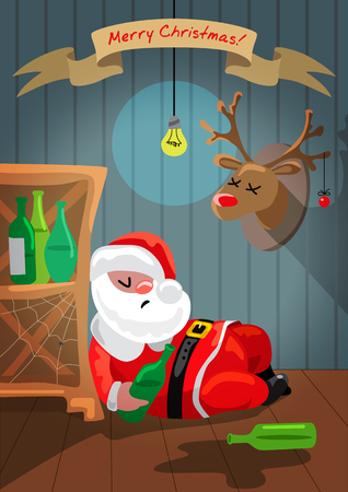 cartoon human: Drunk Santa Claus is sleeping in the room Illustration
