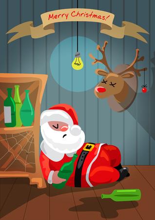 ebrio: Pap� Noel borracho est� durmiendo en la habitaci�n Vectores