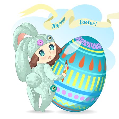 chibi: Little chibi bunny girl paints an Easter egg. Happy Easter