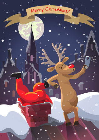 Deer do with self stuck in chimney Santa Claus Illustration