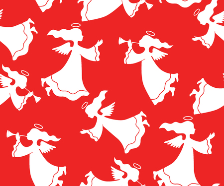 herald: Christmas seamless pattern silhouettes of angels