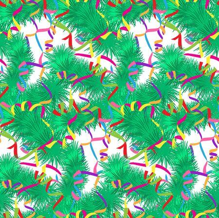 serpentines: Xmas tree and serpentine seamless pattern