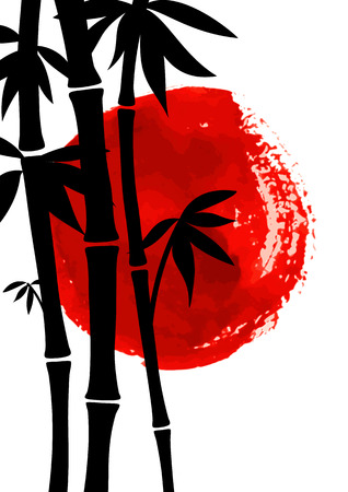 china watercolor paint: Bamboo trees black silhouettes on watercolor red sun