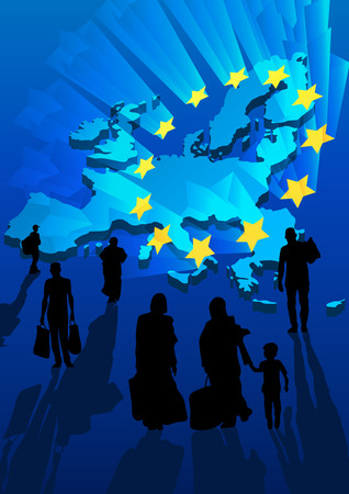 migrant: Silhouettes of refugees on background the map and shining stars Europe Union flag