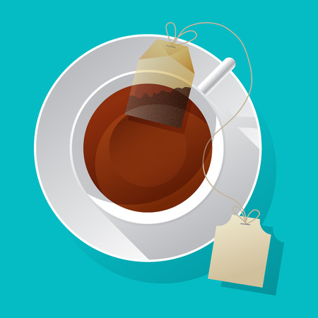 green and black: Vector teacup and teabag Illustration