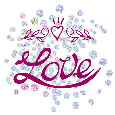 Love lettering on gems background