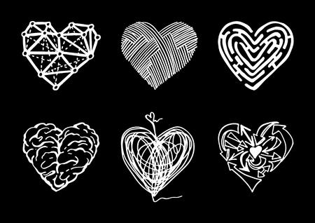 Conjunto de diversos corazones abstractos en el estilo de dibujo