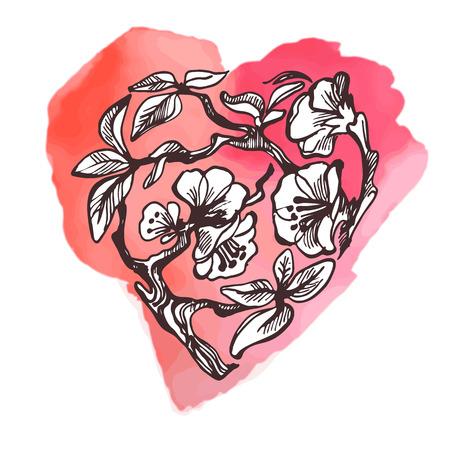 apple blossom: Apple blossom heart on watercolor spot. Hand draw doodle vector illustration.