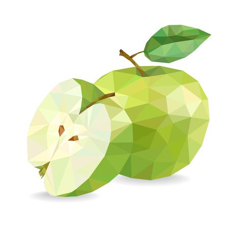 애플과 슬라이스. 낮은 폴리 벡터 일러스트 레이 션, 흰색 배경에 고립. 일러스트