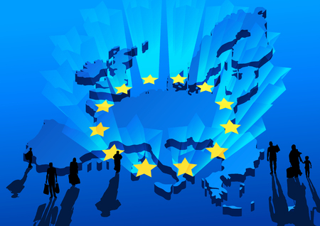 Silhouettes of refugees on background the map and shining stars Europe Union flag