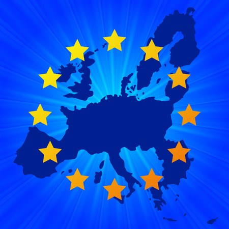 Europe Union map background with shining stars. Gradient mesh