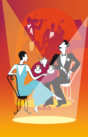 thirties: Retro couple drinking tea, coffee in a restaurant. Vector illustration in art deco style.