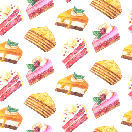 vanilla pudding: Seamless pattern of pieces of cake. Hand drawn watercolor pencils.