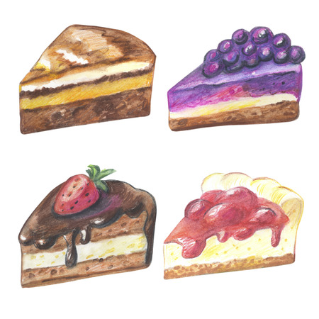 blueberry cheesecake: Set of pieces of cake. Hand drawn watercolor pencils.