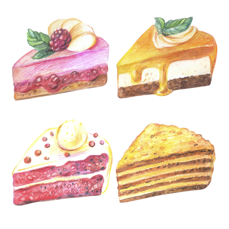 vanilla pudding: Set of pieces of cake. Hand drawn watercolor pencils.