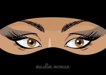 niqab: Beautiful eyes of of arabic muslim woman in niqab