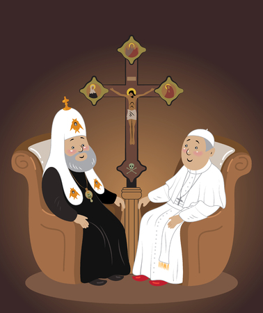The meeting of the Pope and the Patriarch of Moscow in Cuba Illustration