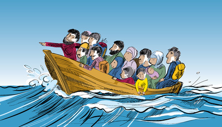 Concept of refugee. People of a boat floating in a sea of refugees to the border. Social theme.