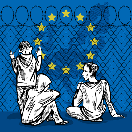 hopeful: Young refugees, teenagers, children, sit behind the fence of barbed wire. Hand drawn vector illustration. Illustration